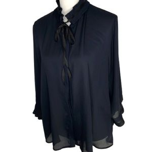 Midnight Blue Pleated neck and cuff Zara Blouse